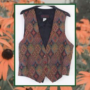 Vintage 90s Against Gravitee Diamond Tapestry Vest